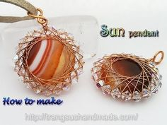 Sun pendant with big flat round stone no holes and small crystal 366 - YouTube