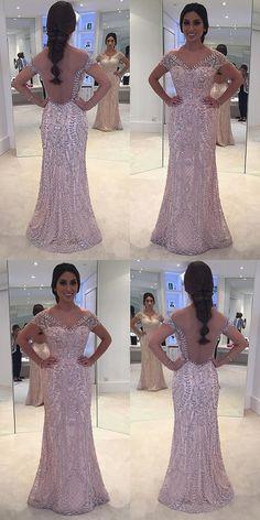 Sheath Prom Dresses,Bateau Prom Dresses,Cap Sleeves Prom Dresses,Light Champagne Prom Dresses,Tulle Prom Dresses,Beading Prom Dresses,Prom Dresses 2017