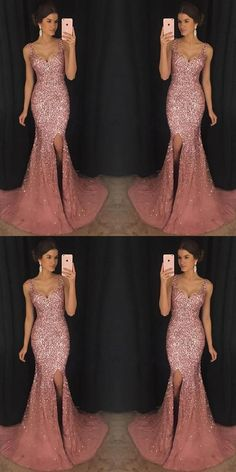 2018 Sexy Mermaid Evening Dresses With Trailing Evening Dress Mermaid, Sexy Evening Dress, 2019 Evening Dress Evening Dresses Sparkly Prom Dresses, V Neck Prom Dresses, Tulle Prom Dress, Bridesmaid Dresses, Sexy Dresses, Party Dresses, Elegant Dresses, Pink Sparkly Dress, Dresses Dresses