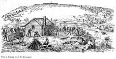 The Battle of Waireka. Defence of Jury's Farmhouse by the Taranaki Volunteers and Militia - This Day in History: Mar 28,1860: First Taranaki War: The Battle of Waireka begins. http://dingeengoete.blogspot.com/