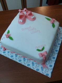 Simple elegant white and pink fondant cake for Christening