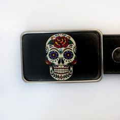 day of the dead-sugar skull Belt Buckle by piprobins on Etsy,