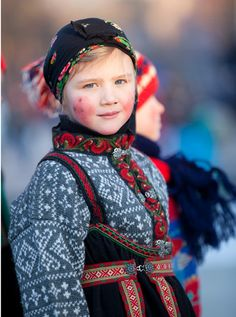 Europe | Portrait of a child, wearing traditional clothes, Setesdalen, Norway | © Laila Duran #bunad #Scandinavian #knitted