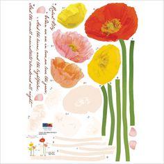 """Wall  Point Art Decor Mural Sticker : Poppies garden 27"""" wide by 19.68"""" tall (70 cm x 50 cm)"""