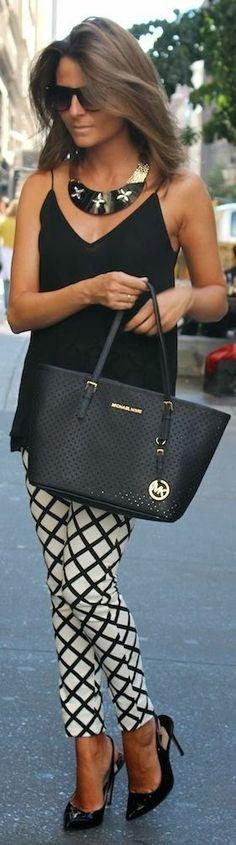 Street style | Black cami, white printed pants, statement necklace, heels, handbag