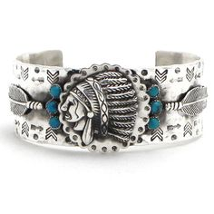 American Made Richard Schmidt Silver Chief Feather Cuff