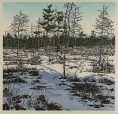 """Little Marsh,"" Neil G. Welliver, 1986, sixteen-color woodcut on Japanese tissue, 29 3/8 x 30 3/4"", Pennsylvania Academy of the Fine Arts."