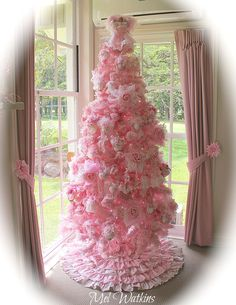 My 7 ft tall pale pink shabby chic Christmas tree :)