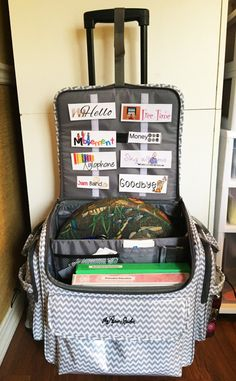 It's my traveling toolbox, my rolling bag. Therapy Tools, Music Therapy, Therapy Ideas, Speech Therapy Shirts, Play Therapy Activities, Teacher Must Haves, Traveling Teacher, Teacher Bags, Teacher Organization