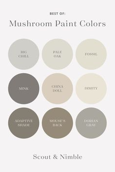 We'll let you in on a little secret: mushroom. This versatile color family is our favorite no-fear way to bring those gorgeous natural tones indoors! Pale Grey Paint, Warm Gray Paint, Grey Paint Colors, Oak Color, Neutral Paint, House Color Palettes, Paint Color Palettes, Bedroom Colour Palette, Neutral Colour Palette