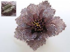 Beadwoven brooch by Handmade Beaded Corsage, a Japanese maker of fine beaded pieces. Shows the brooch back.