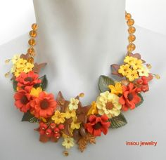 Autumn jewelry  Colorful jewelry  Flower necklace  by insoujewelry
