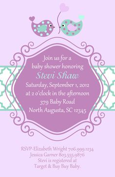 Purple and Teal Baby shower invites!