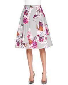 T8MY6 Trina Turk Milan Pleated Floral-Print Skirt