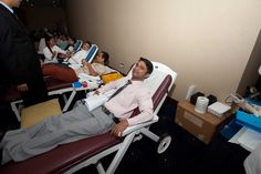 Employees volunteered in large numbers to donate blood for the cause.