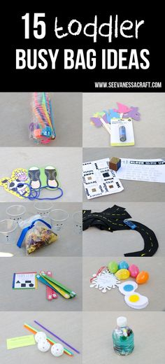 Lots of fun toddler busy bag ideas. These are great to have on hand and ready to go.