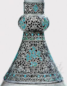 An Ottoman turquoise inset silver mounted zinc bottle, Istanbul Turkey, 17th Century Islamic Art Antique.