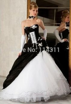 Encontrar Más Vestidos de Novia Información acerca de Blanco y negro boda Vestidos 2016 gótico del