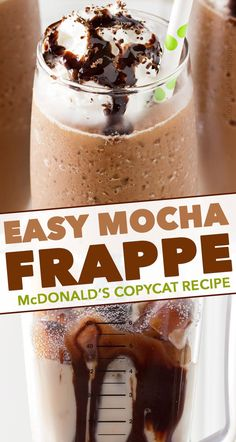 Make your own McDonald's Mocha Frappe at home with this easy copycat recipe! The perfect cold coffee drink for Spring and Summer! #frappe #mocha #copycat #mcdonalds #frozencoffee #coffee #frozen #iced #chocolate
