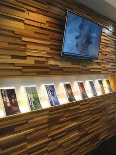 Brochure display - custom designed with concealed lighting for impact from a distance Brochure Display, Signage Display, Brochure Holders, Wood Display, Church Welcome Center, Chiropractic Office Design, Office Graphics, Architectural Signage, Interactive Display