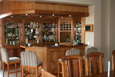 Solid kiaat wood bar, with stacking doors thru to the patio Barbeque Pizza, Stacking Doors, Solid Wood Kitchens, Granite Tops, Electric Oven, Gas Stove, Wood Bars, Kitchenette, Open Plan