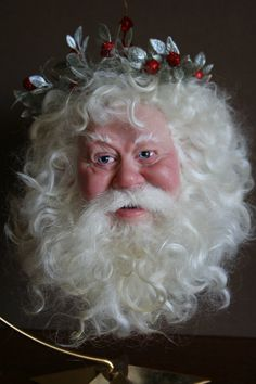 Santa with Wreath 3   Original polymer clay by menzmerizingdollz