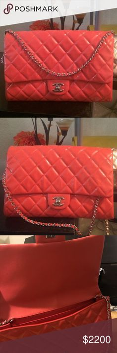 Chanel single flap clutch or shoulder bag Orange color. Patent leather. In a good condition (carried a few times a d store in a closet). Serial number reads 15xxxxxx. Bought a Chanel boutique in Boston in 2013. Have a authentication card and dust bag. CHANEL Bags Clutches & Wristlets
