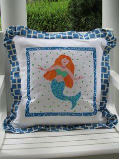 Mermaid Beach Pillow handpainted