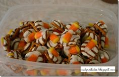 Fall candy mix pretzels, kisses, candy corn