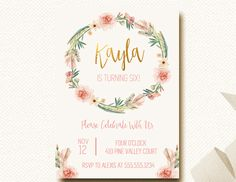 Boho Birthday Invitation Invite Floral Crown Flower Wreath Gold Girls First Birthday Watercolor Feathers