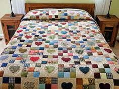 Hearts and Nine Patch Quilt -- exquisite made with care Amish Quilts from Lancaster (hs6508)