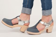 New silver leather and blue nubuck T-bar clogs #lottafromstockholm #lottas #clogs