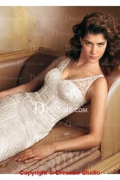 Gorgeous Illusion V-Neckline Wedding Dress with Ravishing Allover Lace