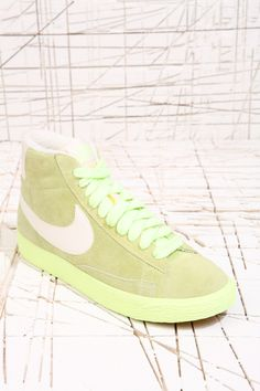 a02f140a44f626 Nike Blazer Green Mid Suede Trainers at Urban Outfitters Suede Trainers