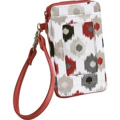 "Thirty-One Timeless Wristlet I Can-Ikat by Thirty-One. $27.59. Exterior smartphone pocket with hook and loop closure; exterior clear PVC ID window; 4 card slots; 2 interior flat pockets; 1 interior zipper pocket; comes with detachable wristlet strap; zipper closure. Approx. 5.25""H x 3""W x 1""D"