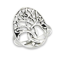 925 Sterling Silver Oval Domed Tree of Life Filigree Ring, Size 8. Solid .925 Sterling Silver. Ring available in all whole sizes 5 through 10. Tree of Life filigree design. Ichthus symbol for trunk. Lightweight comfortable fit.