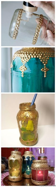 Turn glass jars into lanterns: Apply gold dimensional paint (or cola fria+glitter) in various patterns. You can use the applicator tip to create small stud-like dots. (Optional use of dry pasta) Let dry. Pour a small amount of glass paint inside the jar and use your paintbrush to drag the paint up the sides of the jar, coating all of the jar's interior. Let dry. Simply fill them with candles or add loops of fine-gauge wire to the tops for easy hanging. X