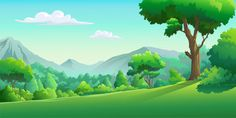 Vector images of the forest in the daytime Premium Vector Family Illustration, Forest Illustration, Landscape Illustration, Jungle Cartoon, Forest Cartoon, Cartoon Trees, Cartoon Background, Game Background, Vector Background