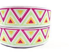 Hot Pink & Lime Green Chevron Triangle Woven by LylaSupplies, $3.75