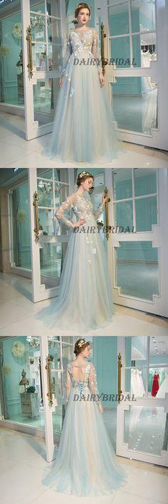 Tulle Prom Dresses, Long Sleeve Prom Dresses, Applique Party Prom Dresses, Open-Back Prom Dresses, DA954