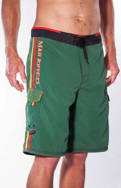 bbc8ca892a Men's Rasta Reggae Green Boardshort Maui - Maui Rippers Boardshorts Surf  Shorts, Boardshorts, Gym