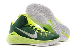 Nike New Hyperdunk 2014 XDR Sports Sneakers in Green Metallic Silver and White Color