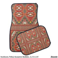 Southwest, Tribal, Geometric Reddish Print Car Floor Mat