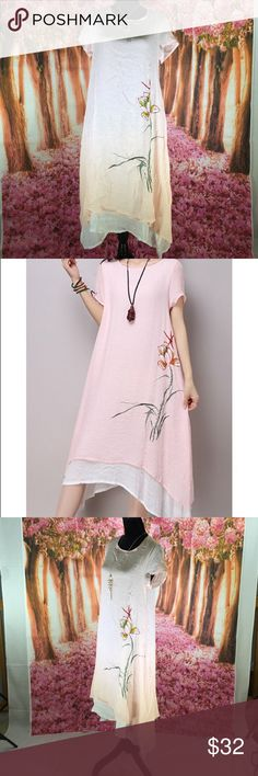 Two Layers Dress Elegant Round Collar Short Sleeve Two Layers Dress. Materials: cotton blend, polyester. A-line silhouette. Mid-calf length. Empire waist. Floral pattern. Dresses High Low
