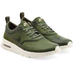 Nike Air Max Thea Premium Leather Sneakers found on Polyvore featuring shoes, sneakers, nike, green, green leather sneakers, green shoes, genuine leather shoes, green leather shoes and leather trainers