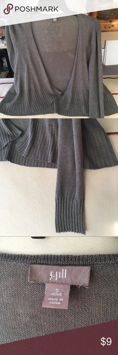 J Jill Linen Blend Gray Shrug Nice long sleeves on a short 'bolero type' shrug. J Jill quality linen blend and classic style. Gently used condition! J Jill Tops