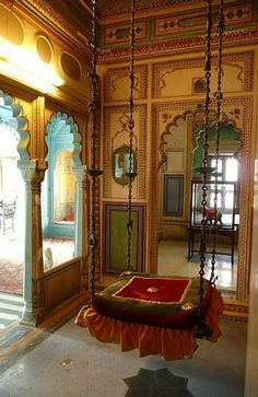 The Relaxing Room of the Maharani and His Wife - Location Udaipur, India Why enjoy a swing only outdoors? Need a big room for that. Home Interior Design, Interior And Exterior, Indian Home Decor, Moroccan Decor, Moroccan Furniture, Indian Furniture, Relaxation Room, Relaxing Room, Home Decor Ideas