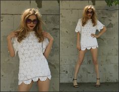 Vintage Vtg 70s 80s White Crochet Dainty Micro by Sweetiesvintage