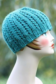 Blue Braided Knit Beanie | AllFreeKnitting.com