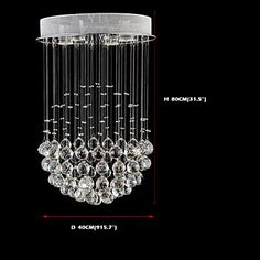 LED Crystal Pendant Lights Modern Chandeliers Clear K9 Crystal Ceiling Lamps Fixtures D40CM H80CM – USD $ 218.04